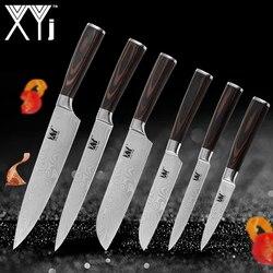 XYj juego nueva llegada 2019 cocina cuchillos de acero inoxidable herramienta de utilidad fruta Santoku Chef cortadora Damasco venas cuchillos de cocina