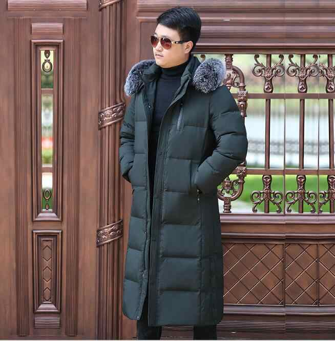 cdbcb1190 Long Men's Down Coat Winter Long Down Jacket Coat Hooded Men Down ...
