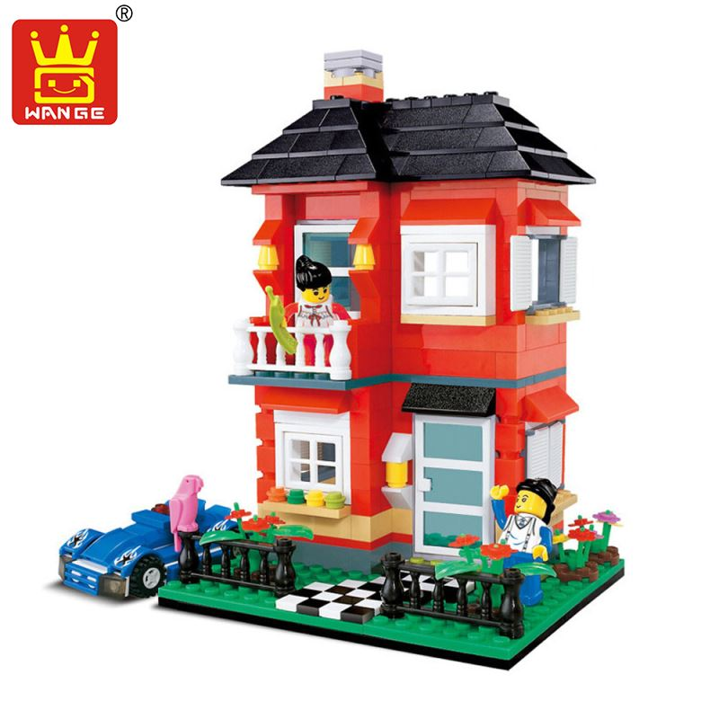 Wange Villa DIY Building Blocks Model Toys with Figures Large Buildings Doll Houses Assembly Educational Bricks Gift for Child hm136 57pcs large particle building