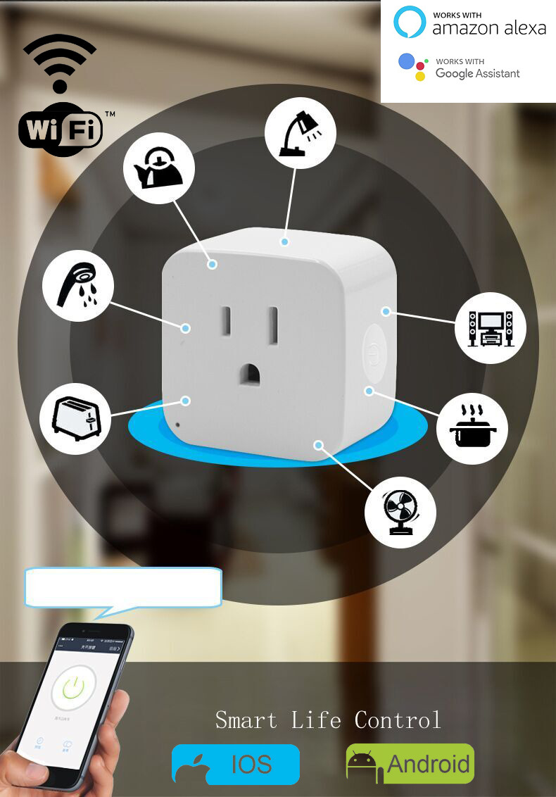 Wifi Smart Socket Smart Plug Tuya Smart Life App  US Plug  Remote Control Alexa Google Home Mini IFTTT Supports 2.4GHz Network-in Mobile Phone Chargers from Cellphones & Telecommunications