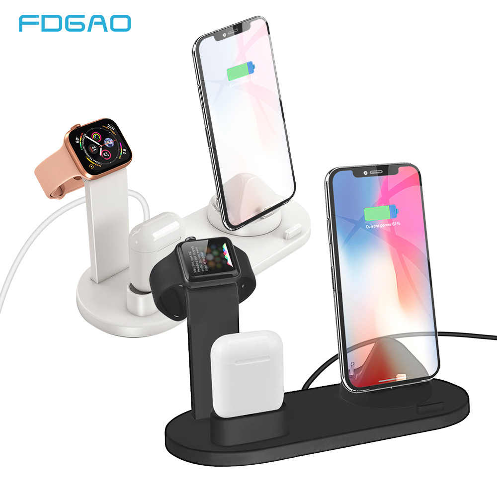 Fdgao 3 In 1 Pengisian Dock Charger Stand For Apple Watch Series Airpods iPhone 11 Xiaomi Samsung Universal Pengisian Base stasiun