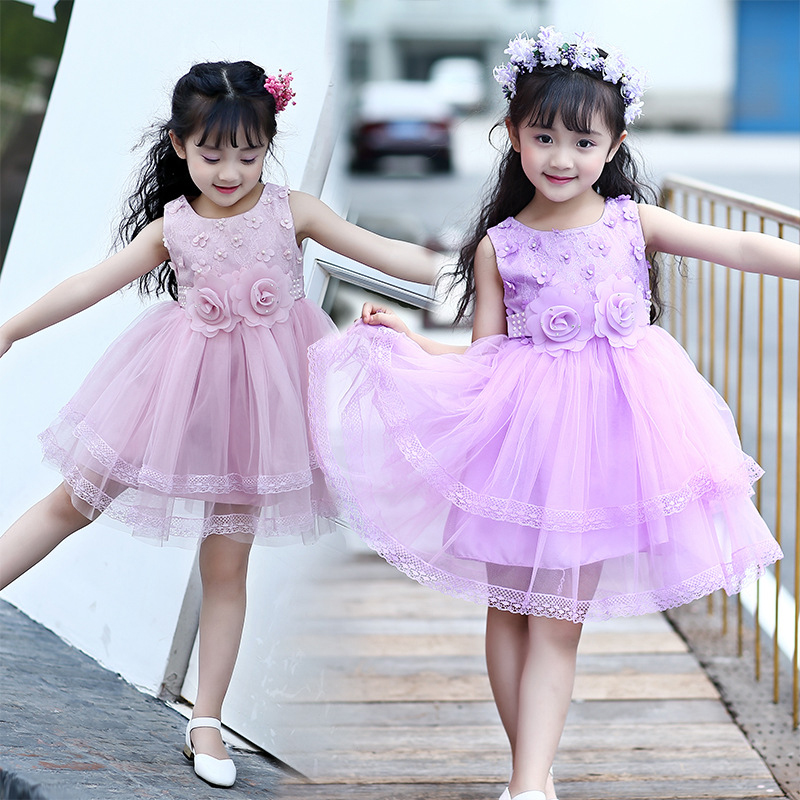 Girls Princess Dress Summer 2017 Fashion Lace Flowers Dress For Girl Kids Pure Color Sleeveless O-neck Cute Kids Clothes 5675W автомобильный dvd плеер joyous kd 7 800 480 2 din 4 4 gps navi toyota rav4 4 4 dvd dual core rds wifi 3g