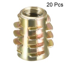 Uxcell Newest 20pcs Length 13mm 15mm 18mm 20mm 25mm M6 Threaded Insert Nuts Hex-Flush Zinc Alloy Furniture Bronze Tone