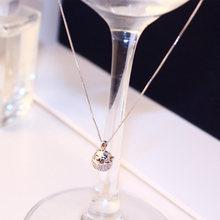 Женское ожерелье с подвеской «Кот удачи» цвета розового золота