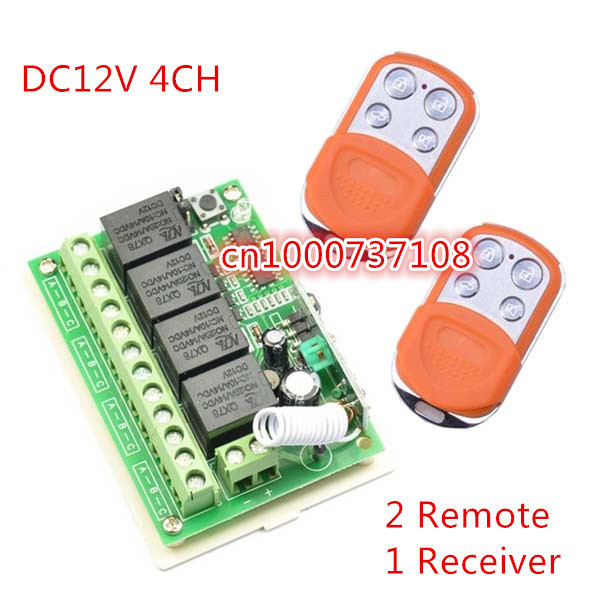 Wireless DC 12V 4CH Remote Control Switches Receiver with 4 Buttons Transmitters 315mhz /433.92mhz Adjust output way dc12v 4ch wireless receiver