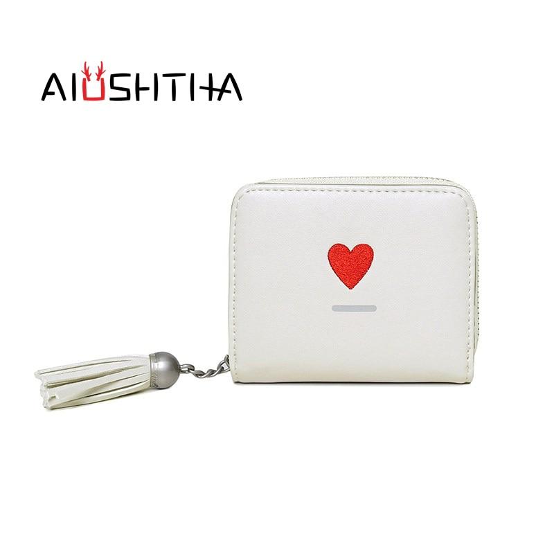 heart women wallets mini purses small short tassel zipper coin purse for girls designer brand high quality white black pink blue