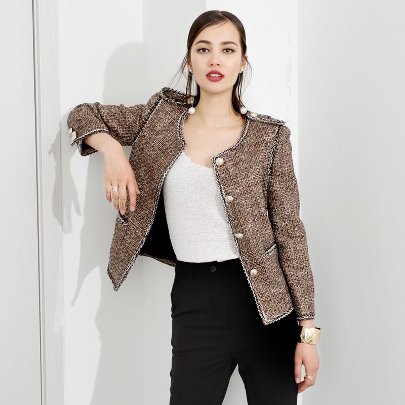 Golden brown tweed jacket spring / autumn new ladies jacket woven ...