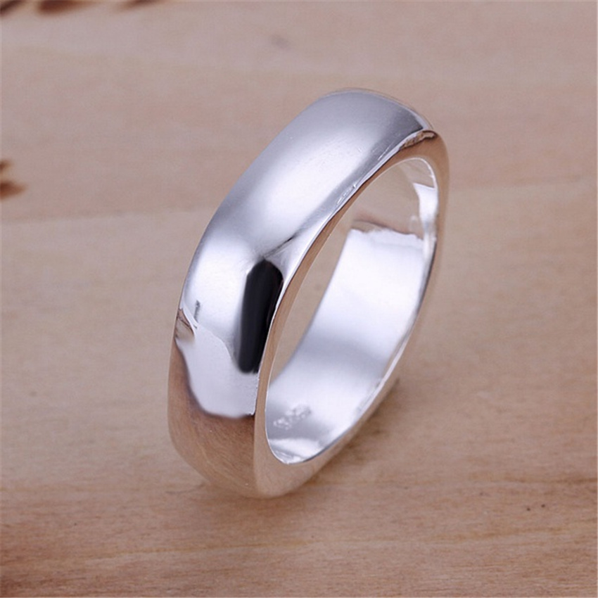 Christmas GIFT Sale Women free shipping girl silver plated Smooth Ring jewelry factory wholesale hot sell fashion jewelry R004