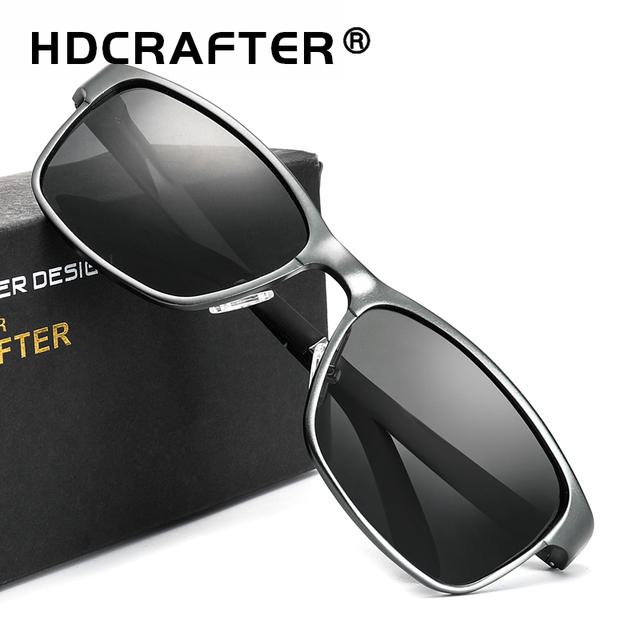 HDCRAFTER Brand Designer Sun Glasses Aluminum magnesium polarized driving Sunglasses mens Vintage Square Mirror Sunglasses