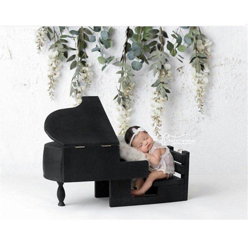 Nouveau-né accessoires Fotografia posant canapé pour bébé Photo Shoot Vintage bois massif Piano bébé nouveau-né photographie accessoires Flokati