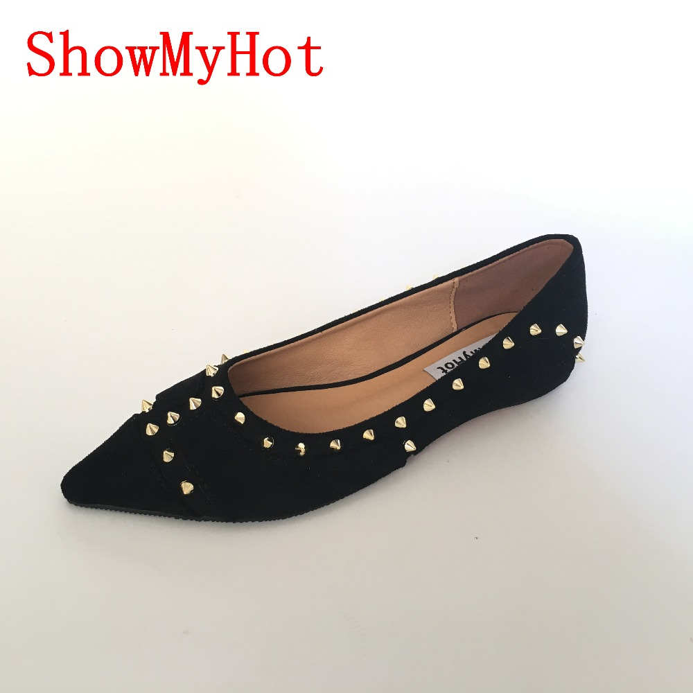 ShowMyHot Fashion Women Studded Pointed toe party Shoes female Solid Color rivet Flat Shoes Casual slip