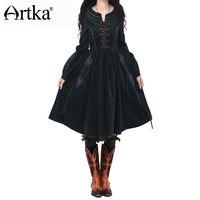 Artka 2015 женская ретро новая коллекция осеней одежды с рукавом фонарщики черное высококачественное элегантное платье с вышивкой LA10241Q