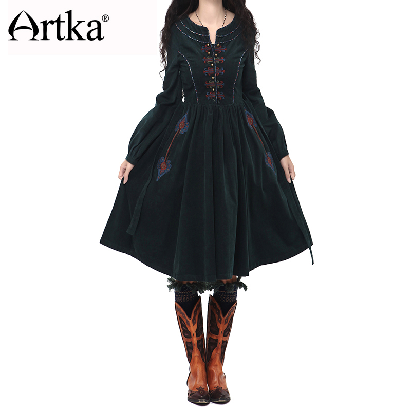 Artka Women'S Autumn Vintage O-Neck Lantern Sleeve Solid Embroidery Patchwork Expansion Bottom Cotton Dress L110152Q