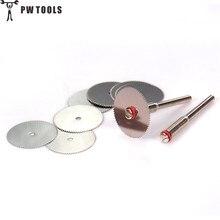 """כלים PW 10 PC HSS 22 מ""""מ דיסק חיתוך כלי שפשוף מחוזק Cut Off גלגל עם 2 Mandrels אביזרי כלי סיבובי Drill Mini"""
