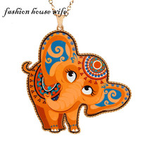Fashion House Wife Acrylic Cartoon Elaphant Long Pendant Necklace For Women Metal Animal Statement Necklace Chain Jewelry LN0110