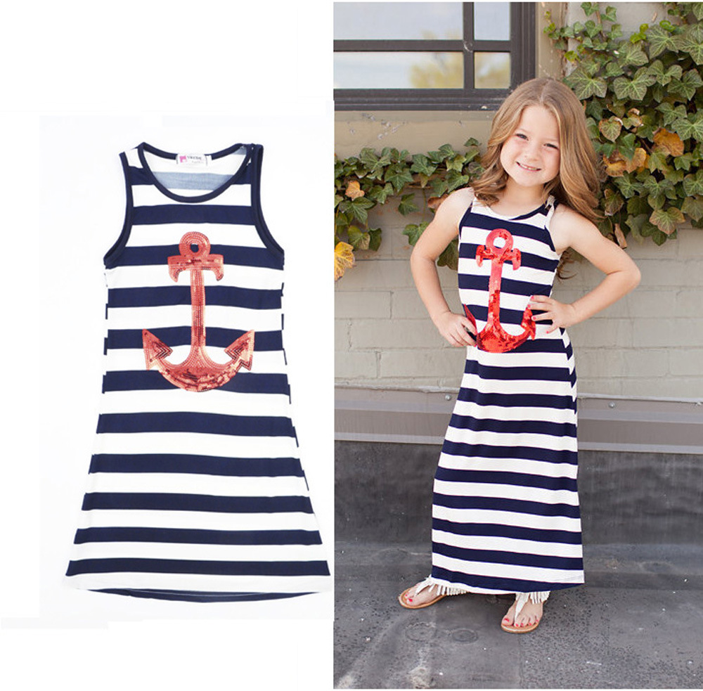 Summer time New Trend Household Matching Outfits Mother Daughter Striped Women Seashore Gown Vest Gown DS19 Matching Household Outfits, Low cost Matching Household Outfits, Summer time New Trend Household...