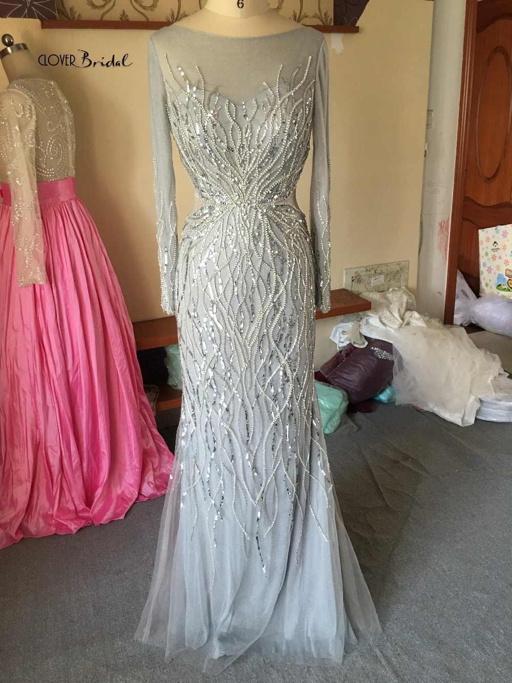 CloverBridal lange armel silberperlen festliche kleider abendkleider 2019 lange mouwen silver stenen avondjurk luxe