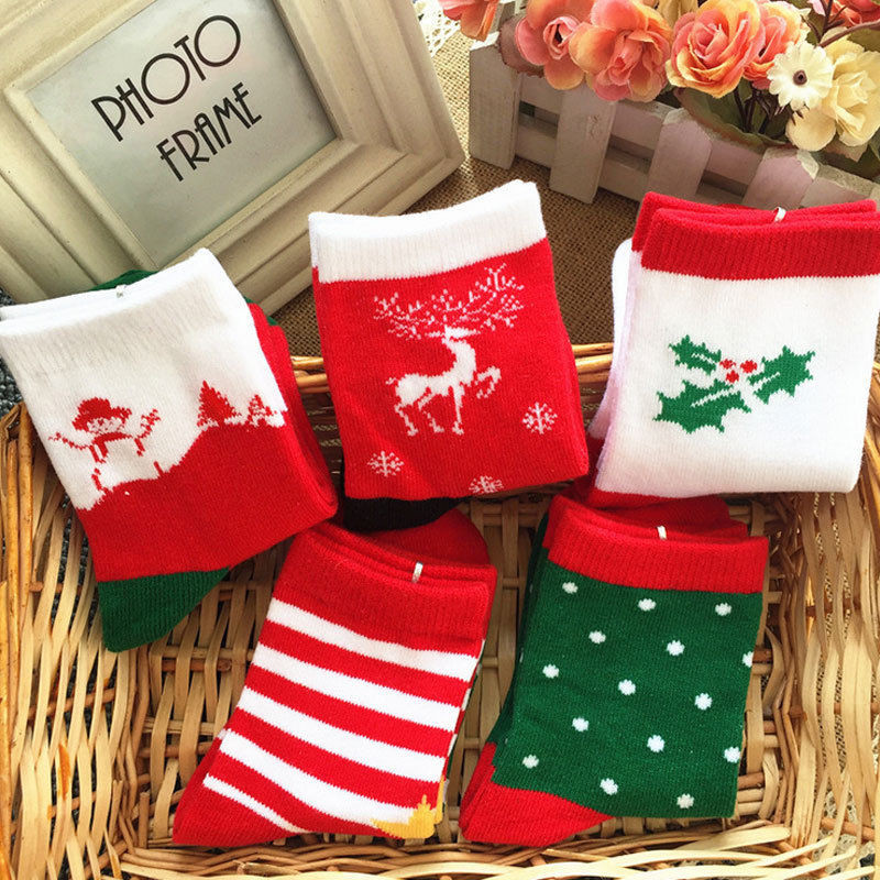 1-12T Cotton Cute Christmas Baby Socks Slip-resistant Print New Born Children's Christmas Socks