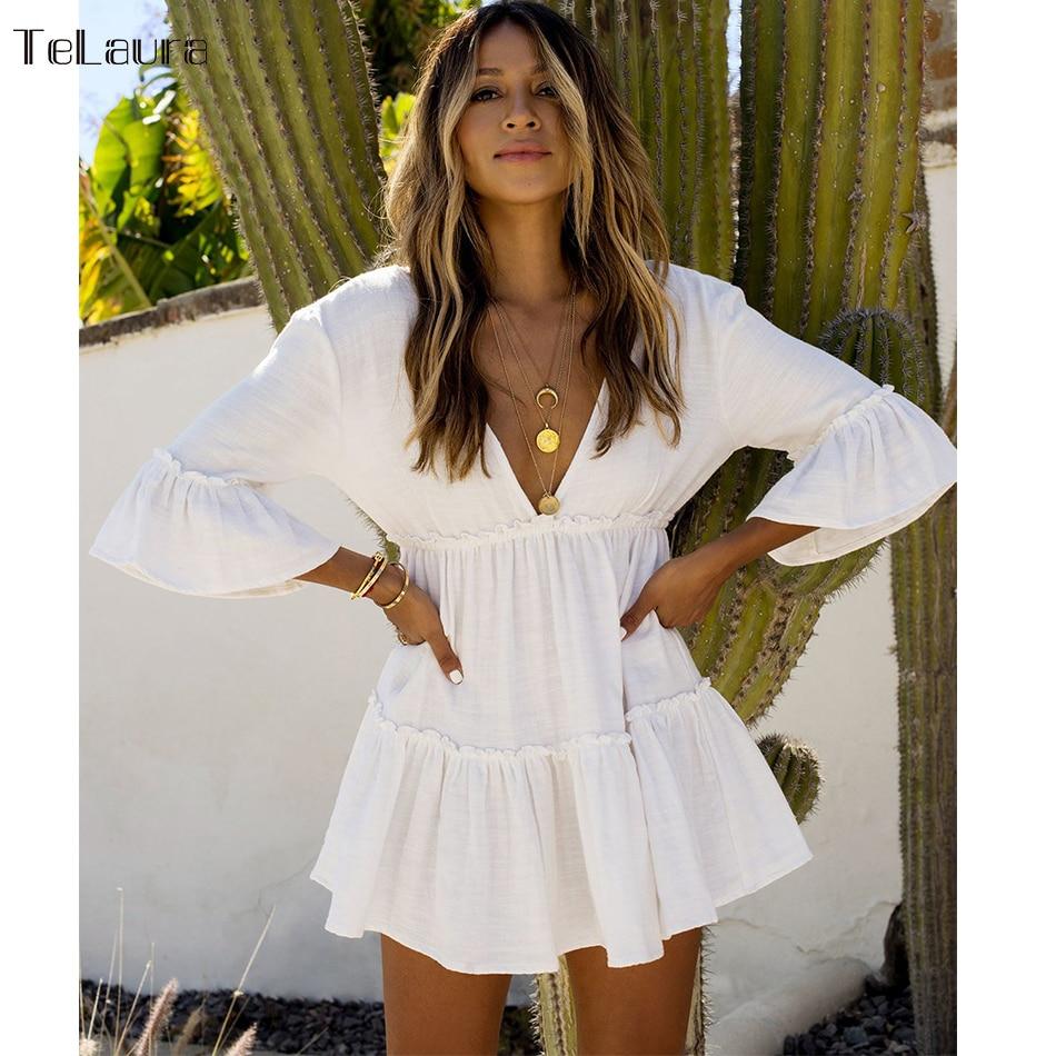 Swimsuit Tunic Cover-Up Beach-Dress Bikini White Women Summer New V-Neck
