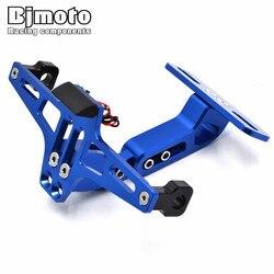 Moto Réglable Angle En Aluminium Nombre de Plaque D'immatriculation Support Pour Yamaha R1 R6 R3 FZ1 FZ6 MT07 MT09 XJ6 TMAX 500 530