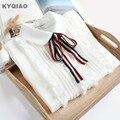 KYQIAO Lolita shirt 2018 mori girls spring KAWAI long sleeve peter pan collar bowknot white blouse Japanese cosplay costumes