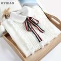 KYQIAO Lolita shirt 2019 mori girls spring KAWAI long sleeve peter pan collar bowknot white blouse Japanese cosplay costumes