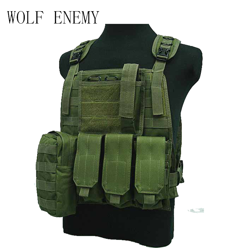 Tactical Combat Airsoft Paintball Hunting Shooting Combat Molle Vest Chest Rig Harness W/ Triple 5.56mm Mag Pouch Multicam 3 litres of water bag military usmc tactical combat molle rrv chest rig paintball harness airsoft vest multicam