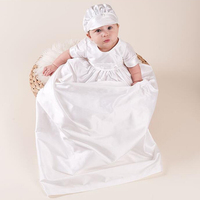Christening Gown Satin Baptism Robe with Hat Bonnet Newborn Baby Long Dress Frock White A015 Christening Clothing Occasion Wear