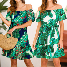Dress new high quality sexy off shoulder women dress princess wind coconut tree print ruffled lace-up strapless vintage