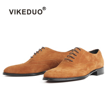 купить VIKEDUO Genuine Suede Oxford Shoes For Men Lace-Up Flat Custom Made Dress Leather Shoes Wedding Office Men's Brown Zapato Hombre дешево