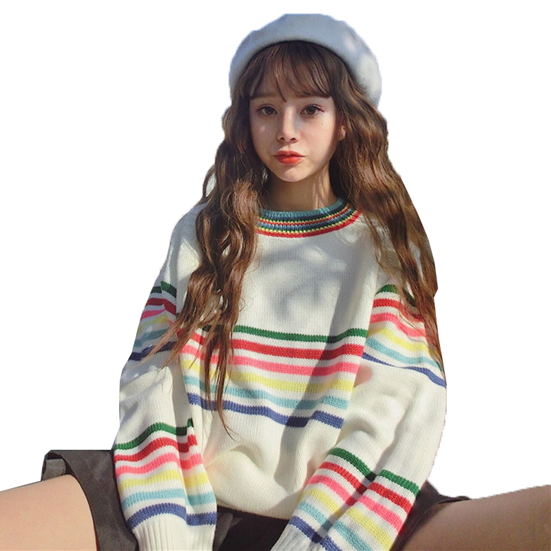 Harajuku 2018 Autumn Winter Cashmere Sweater Women Rainbow Stripe Pullovers O-Neck Knitted Soft Warm Cashmere Pullover Female