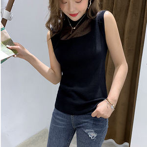 Image 2 - Half High Collar Sexy Tank Tops Women Sleeveless Knitted Vest Female Elasticity Solid Slim Pullover 2020 Summer Solid Bottoming
