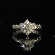 925 סטרלינג כסף טבעת 1ct 2ct 3ct יהלום ליטוש עגולה תכשיטי Moissanite טבעת אירוסין טבעת יום נישואים טבעת