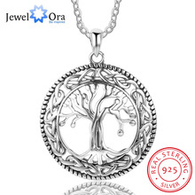 Tree of Life Large Pendant Necklace Jewelry 925 Sterling Silver Necklaces & Pendants For Women Best Gift (JewelOra NE101908)(China)