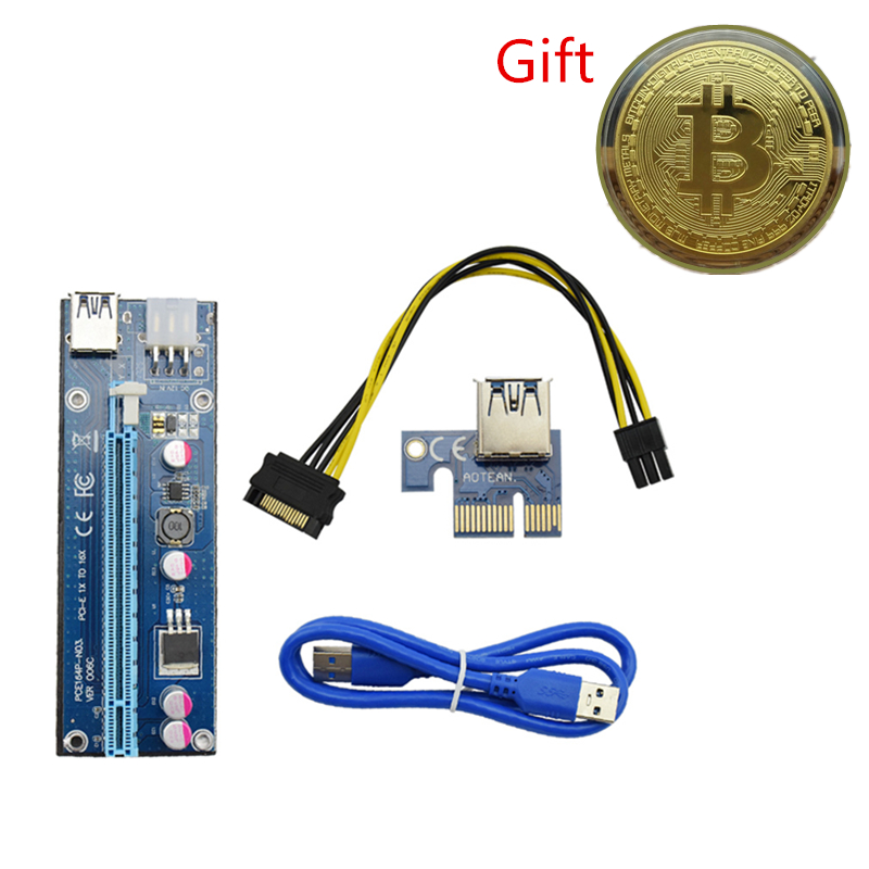 8pcs PCI-E Riser Card USB 3.0 Cable Bitcoin Gift PCIE 1x to 16x Extender SATA IDE Molex Power Supply for BTC LTC Miner Machine for btc miner machine pci e extender pci express riser card 1x to 16x usb 3 0 sata to 4pin ide molex power supply raiser 60cm