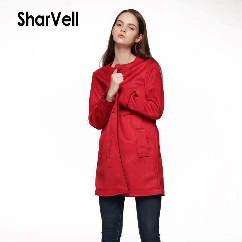 Sharvell Women A&W Polyurethane Long Length Jackets Pu   Leather   Casual Solid Red Windbreak Basic Single Breasted   Suede   Outwear