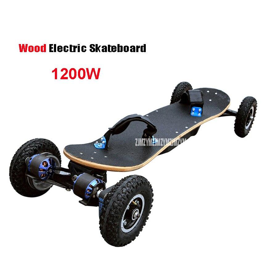 4 колеса электрический скейтборд двойной мотор электрический Longboard Scooter Boosted Board E-scooter Hoverboard деревянная доска 1200 Вт Мощность