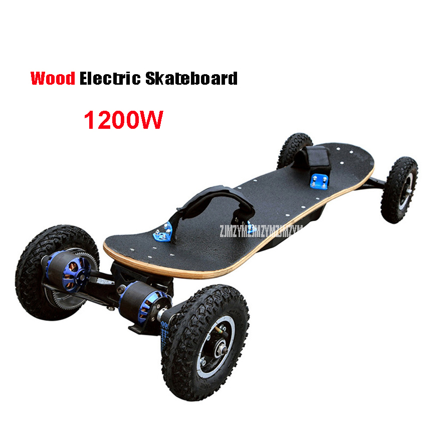 Cheap Electric Skateboard >> Us 544 35 5 Off 4 Wheels Electric Skateboard Double Motor Electric Longboard Scooter Boosted Board E Scooter Hoverboard Wood Board 1200w Power In