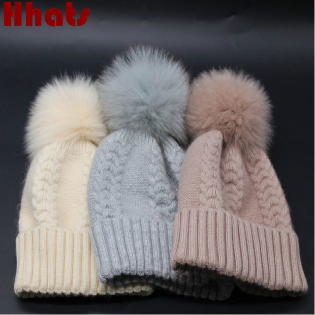 4d454c79 Which in shower genuine big real fox fur pompom women wool hat thick warm  knitted real