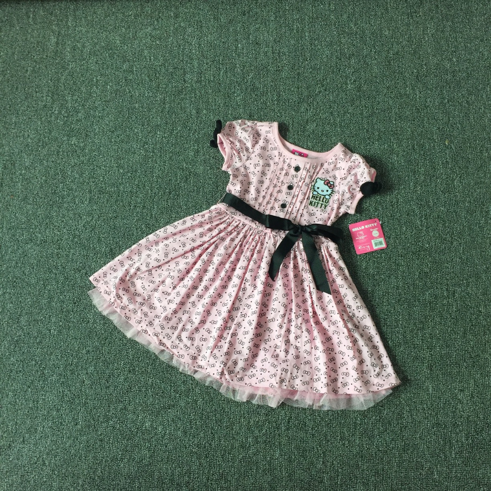,6pcs/lot 2-6 yrs little Girls summer Dress,hello kitty dress,kitty cotton dress,cotton with printing cat dress