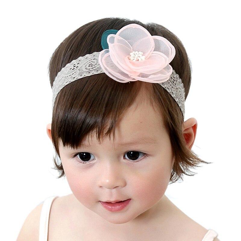 New Solid Lace Flowers Newborn Toddler Headband Cute Baby Headdress Kids Hair Band Girl Princess Headwear Accessories