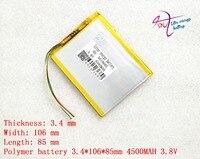 5 pinos da ficha 3.8 V 4500 mAh 3410685 Bateria com placa de proteção da bateria de Polímero de Lítio Tablet PC Frete Grátis