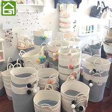 Home Accessories Cotton Rope Storage Basket with Handles Baskets for Kids Toy Laundry Nursery Hamper