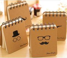 1pc/lot Mr. Beard Small Coil Blank Kraft Paper Notebook Mini Packet Spiral Scratch Book DIY Diary Journal Notepad Student Gift