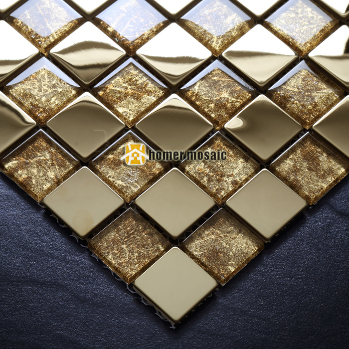 Crystal Glass Mixed Gold Plating Metal Mosaic Tiles
