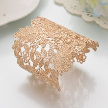 71b8f64e3c8 Baroque Cuff Bangles Women Girls Open Big Jewelry Gold Color Hollow Flower  Leaves Lace Bracelets Vintage