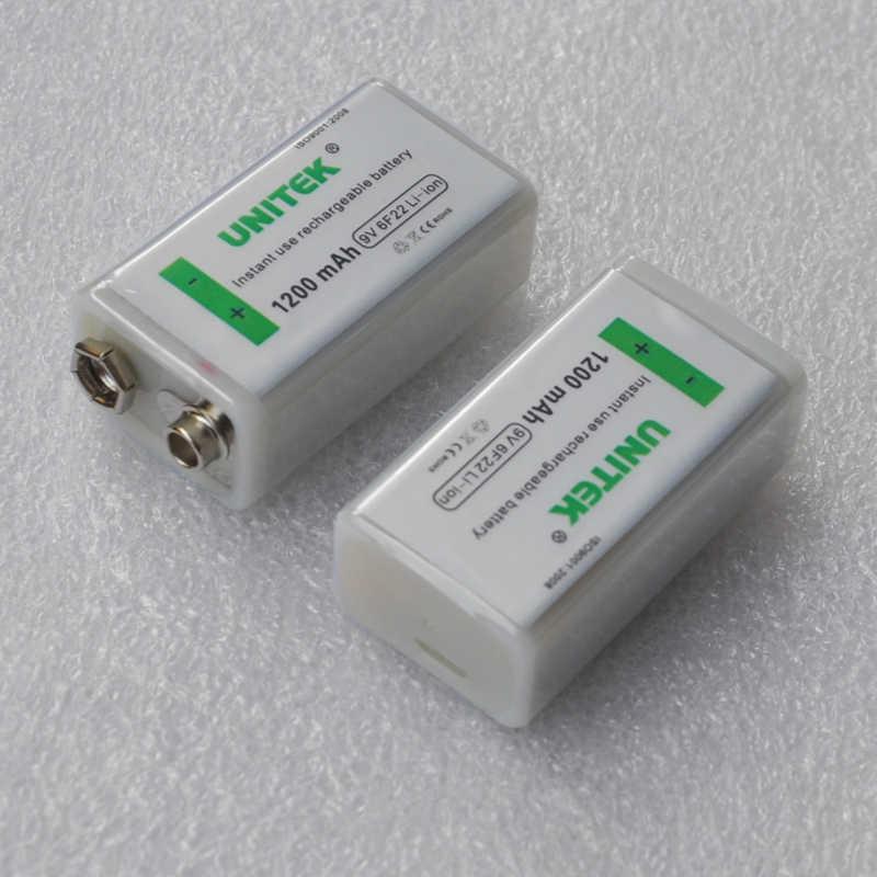 2 шт./партия, незаменимая 6F22 USB 9 В, перезаряжаемая литий-ионная батарея 1200 мАч для рации, пульт дистанционного управления, игрушка, литий-ионный аккумулятор