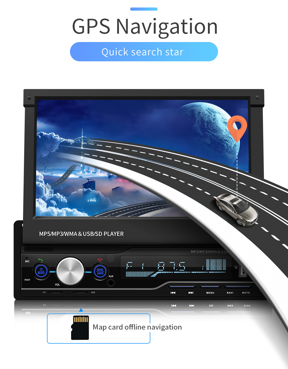 OTOJETA 1din indash 7inch screen GPS navi car multimedia player HD movie play mirror link BT handsfree usb sd aux stereo device image