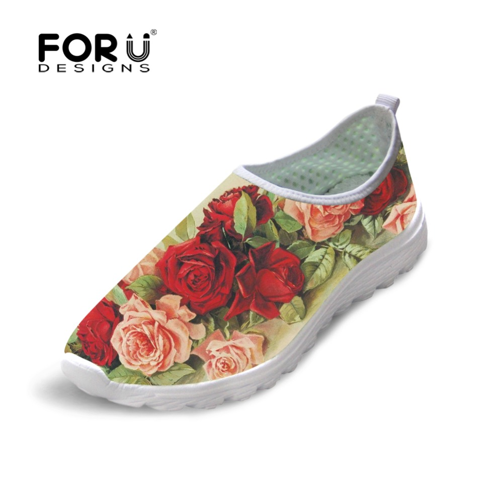 FORUDESIGNS Spring Summer Floral Style Women Flats Shoes Casual Women's Sneakers Beach Loafers Lovers Slip-On Mesh Shoes Woman summer sneakers fashion shoes woman flats casual mesh flat shoes designer female loafers shoes for women zapatillas mujer