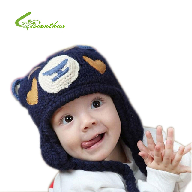 Babys Manual Knitting Hat Boy Girl Cap with Cute Little Bear Pattern Babys Cotton Cap for 0-48M, Spring & Autumn Free Shipping
